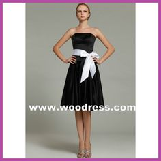 A sexy strapless short black bridesmaid dresses satin Style J6883