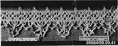 Macrame  Date: 16th–17th century  Culture: Italian  Dimensions: L. 14 3/4 x W. 2 inches 37.5 x 5.1 cm  Classification: Textiles-Laces-Macrame  Accession Number: 09.50.41