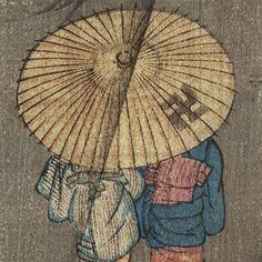 Fuji Arts Japanese Prints - Sharing an Umbrella Tanzaku Print by ...(and no, that is not a Nazi swastika)