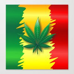 Cannabis Leaf on Rasta Colors Flag Stretched Canvas by Bluedarkat Lem - $85.00