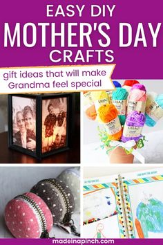 Here are the BEST DIY Mother's Day gifts for Grandma! With Mother's Day coming, don't forget about grandma! Any of these easy gift ideas will make her feel like the special mom she is. They're practical and sentimental all at the same time while being super EASY to make. #mothersday #gifts #DIY #crafts
