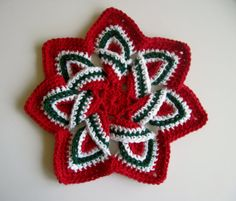 Crochet Flower Trivet Hot Pad - Christmas Red, Green and White