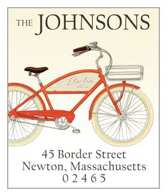 Red Bicycle- return address label
