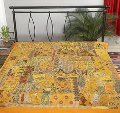 Yellow hand stitched queen bed cover bohemian embroidered bedspread tapestry-Jaipur Handloom