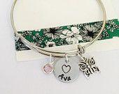 Butterfly Bracelet, Adjustable Bangle Bracelet, Personalized Butterfly Bracelet, Childrens Name Jewelry, Personalized Name Bracelet, Girls