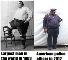 world's fattest man in 1903 vs American police officer in 2012