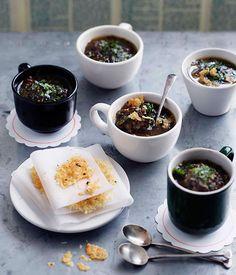 Australian Gourmet Traveller recipe for lentil and radicchio brodo with parmesan crisps.