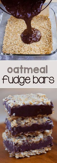 Soft, chocolatey, and ultra fudgy chocolate oatmeal fudge bars - Just like the traditional version from Starbucks, and no baking required! Bon Dessert, Dessert Bars, Vegan Sweets, Healthy Sweets, Healthy Snacks, Healthy Fudge, Healthy Chocolate Desserts, Healthy Brownies, Healthy Eating
