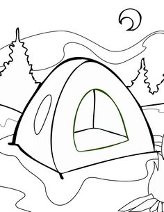 Tent Coloring Page Maybe Adapt To Stained Glass Pattern