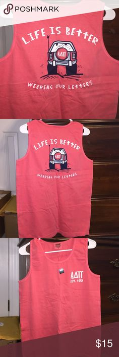 Alpha Delta Pi (ADPi) Tank top Bought off the south by the sea sorority tshirt site and they sent me the wrong sorority. Size small but looks like a loose fit. Never worn. Color is more of a light hot pink. South By the Sea Tops Tank Tops