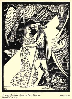 Jorinde and Joringel. German fairy tale, Brothers Grimm. Illustrated by Kay Nielsen. This looks like an early illustration of his. The features are rough-hewn and the overall design lacks some of his later sophistication and balance.