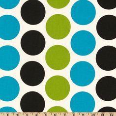 Premier Prints Fancy Dot Wild from @fabricdotcom  Screen printed on cotton duck , this versatile, medium weight fabric is perfect for window accents (draperies, valances, curtains and swags), toss pillows, bed skirts, duvet covers, slipcovers and more! Get creative with tote bags and aprons, too!  Colors include chartreuse, black and marina blue on an ivory/white background.