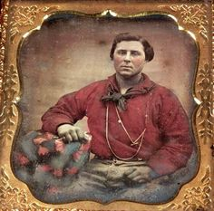Early - mid 1850s man in red shirt. Courtesy Charles Lemon, 19th Century Fashion Facebook page