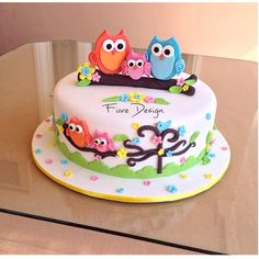 Birthday cakeYou can find Owl cakes and more on our website. Owl Cake Birthday, Bithday Cake, Art Birthday, Ladybug Cakes, Owl Cakes, Cute Cakes, Yummy Cakes, Cake Icing Tips, Bolo Fondant