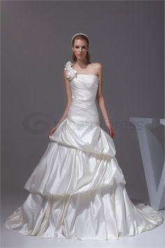 Ivory Summer A-Line One-shoulder Court Train Satin Wedding Dress  http://www.GracefulDress.com/Ivory-Summer-A-Line-One-shoulder-Court-Train-Satin-Wedding-Dress-p19246.html