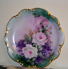 """Antique 13""""Hutschenreuther Hand Painted Roses Charger Plate Signed Schwatrz 
