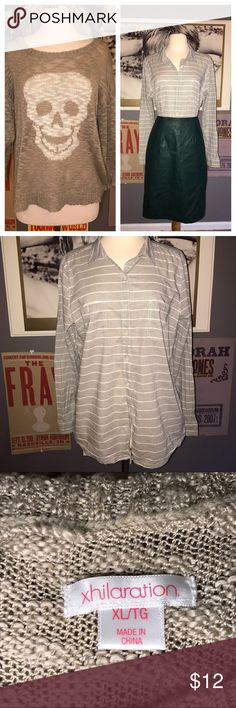 LIMITED TIME- 2For1 deal Xhileration & Caslon Tops Xhileration Skull Sweater- Taupe, Size XL.             Caslon Button Up Shirt- Grey, Size L.             Nordstrom Product Group brand, only worn a few times. Tops