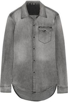 https://www.covet.me/ZhfSx6 Distressed denim shirt #shirt #offduty #covetme #blkdnm