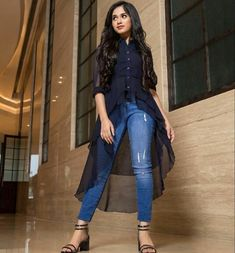 Jannat Zubair Rahmani looks absolutely gorgeous🖤💙🖤💙 Girls Western Wear, Western Dresses For Girl, Girls Casual Dresses, Western Outfits, Trendy Outfits, Girl Outfits, Latest Outfits, Indian Fashion Trends, Indian Designer Outfits