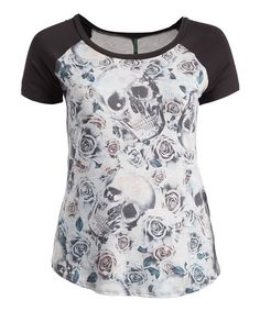 b40708ebc87523 Poliana Plus Black   Gray Skull   Rose Raglan Tee - Plus