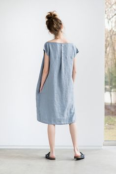 Light elephant grey washed linen dress with decorative buttons in the back