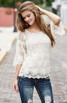 Crochet and lace bell sleeve top $22.90