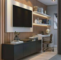 Inspiração linda de área de estudo área de assistir. Gostaram? . Autoria: @a2d_arq2design Confira também: @arquigaleria @curtadesign @decoredecor @ideiasdiferentes USE a # grupojsmais e # geraçãocarolcantelli e aumente a chance de ser postado pelo @grupojsmais. Home Office Setup Ideas Furniture