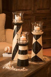 Lighthouse Hurricane Candle Holder from cereal box  http://burtonavenue.blogspot.gr/2011/08/lighthouse-candle-holder.html