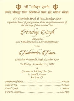 Sikh Wedding Ceremony Wordings