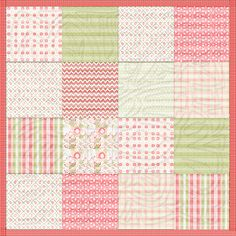 Coral Pink & Green Quilts - Heart at Home : Heart at Home