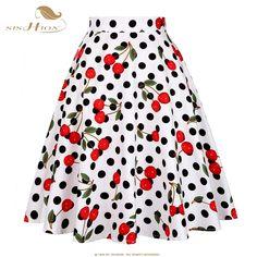 SISHION Plus Size Skirts Womens 2018 Vintage Short Tutu Skirt Floral Dots Candy Colors Summer Skater Women Skirt jupe femme Jupe Swing, Swing Skirt, 50s Skirt, American Apparel, Vintage Rock, Retro Vintage, Vintage Floral, Audrey Hepburn Stil, Pinup