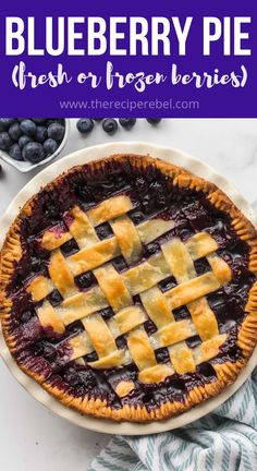 This Blueberry Pie is made with fresh or frozen blueberries and a buttery homemade pie crust! Make with crumble or pie crust topping! #blueberry #blueberries #pie #dessert | blueberry recipes | pie recipes | dessert recipes | summer dessert Best Dessert Recipes, Pie Recipes, Fun Desserts, Snack Recipes, Cooking Recipes, Healthy Recipes, Snacks, Easy Blueberry Pie, Blueberry Recipes