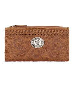 American West Tooled Foldover Wallet in Golden Tan at Maverick Western Wear