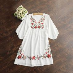 Women Mexican Ethnic Embroidered Pessant Hippie Blouse Gypsy Boho Mini Dress Vintage 70s Floral Embroidery Mini Dress Top Blouse
