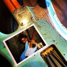 """Billie Joe's """"Blue"""" guitar -- the wear and tear that comes from putting in the time. Use it up, wear it out."""