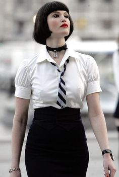 Gemma Arterton black skirt and white collared shirt with black and white striped necktie black leather collar Beautiful Celebrities, Beautiful Actresses, Beautiful People, Beautiful Women, English Actresses, British Actresses, Hollywood Actresses, Corsage, Gemma Christina Arterton