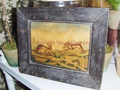"Watercolor by Steve Shelton: ""Spring Hares""  inspired by an 1817 engraving of various types of rabbits.  Housed in a grungy, black painted frame.  6 1/4"" X 7 3/4"".  Contact me for details."