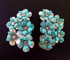 Vintage Floral Baby Robin Blue Earrings Coro w Germany Celluloid AB Rhinestone