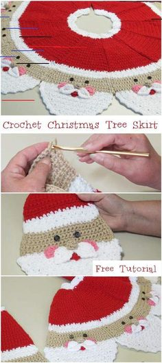 How To Crochet Christmas Tree Skirt Free Tutorial - Crochetopedia - New Ideas Xmas Tree Skirts, Christmas Tree Skirts Patterns, Crochet Christmas Decorations, Crochet Christmas Ornaments, Christmas Crochet Patterns, Holiday Crochet, Christmas Knitting, Christmas Crafts, Crochet Santa