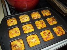 Mini omelets in the pampered chef brownie pan!  I am selling this pan at 10% off tonight only.  $17.10 plus tax with a 3 year warranty.  Email me at amandamaetucker@gmail.com if you want to order!
