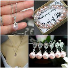 Blush pink Bridesmaid jewelry Wedding by thefabjewelrywedding