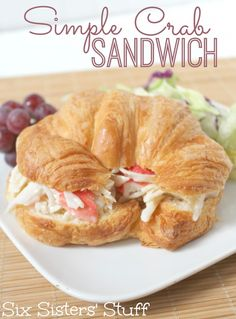 Crab Sandwich Looking for a delicious lunch? This Simple Crab Sandwich is so easy from .Looking for a delicious lunch? This Simple Crab Sandwich is so easy from . Soup And Sandwich, Sandwich Recipes, Fish Recipes, Seafood Recipes, Cooking Recipes, Crab Salad Sandwich Recipe, Healthy Recipes, Seafood Meals, Food Dinners