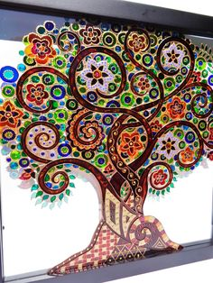 Tree of life art 13x13 Glass painting Glass art Family tree Bohemian decor by CozyHome1 on Etsy https://www.etsy.com/listing/264135423/tree-of-life-art-13x13-glass-painting