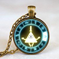 Chain Necklaces Steampunk Gravity Falls Mabel Pig Bill Cipher Wheel Friends Gift Pendant Necklace Pocket Watch Free Box 1pcs/lot Antique Display