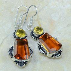 Orange Quartz Citrine Earrings.
