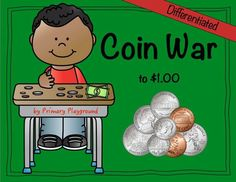 Need a new way to practice counting money? Coin War is an engaging game that allows students to count and compare values of groups of coins. This differentiated set includes cards and worksheets using pennies, nickels, dimes, quarters and half-dollars. $