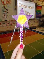 Magic wands: lollypop stick, sequins, tinsel, star shape (paper/foam)