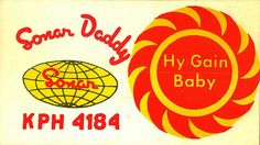 'Sonar Daddy and Hy Gain Baby'. From private collection of CB radio QSL cards of the 60s, 70s and 80s. QSL cards were personalized postcards that were used as a record of contact between CB radio operators.