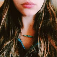 @isabellarrusso in the  Google Earth Turquoise Bar Necklace by Long Lost Jewelry