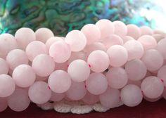 8mm Rose Quartz Beads, Frosted Matt Matte Semi Precious Stone Beads, Round Pink Stone Beads  SP-312